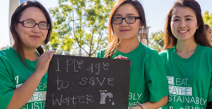 Students are a major part of UC Merced's success in sustainability.