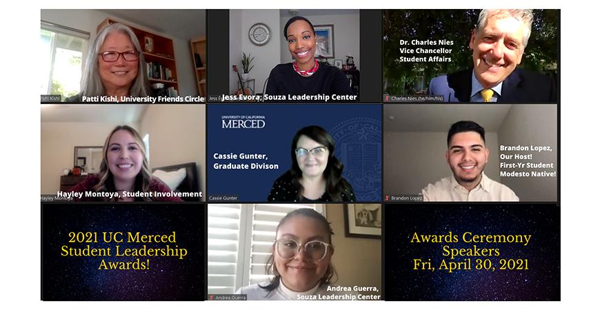 Zoom event presenters (top row) Patti Kishi, Jess Évora and Charles Nies, (center row) Hayley Montoya, Cassie Gunter and Brandon Lopez, (bottom row) Andrea Guerra